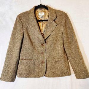 Talbots Herringbone Tweed Wool Silk Blazer Jacket